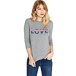Oasis - Grey rainbow love slogan knit