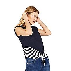 Oasis - Navy stripe tie front t-shirt