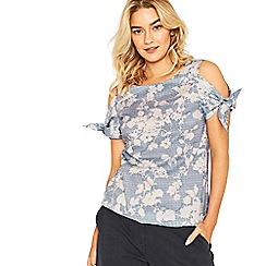Oasis - Multi blue shadow floral tie sleeve top
