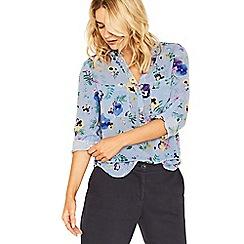 Oasis - Multi blue pressed flower shirt