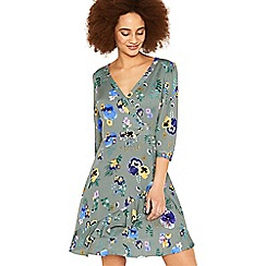 Oasis - Multi green pressed flower wrap tea dress