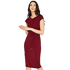 Oasis - Burgundy drape column dress