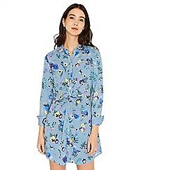 Oasis - Multi blue pressed flower shirt dress