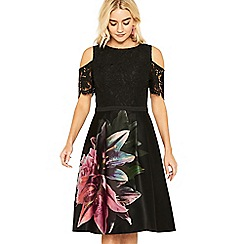 Oasis - Multi black lily cold shoulder skater dress