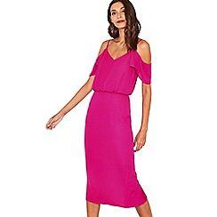 Oasis - Bright pink cold shoulder column midi dress