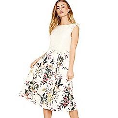 Oasis - Multi natural lace top secret garden midi dress