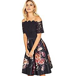 Oasis - Multi blue romance floral bardot skater dress