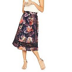 Oasis - Multi blue romance floral full midi skirt