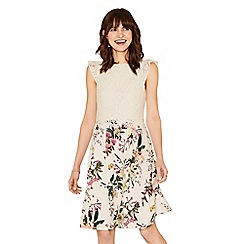 Oasis - Multi natural lace top secret garden skater dress