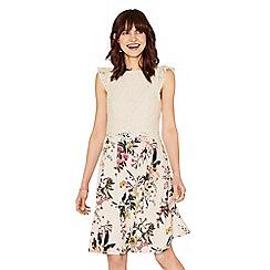 Oasis - Multi natural lace top secret garden skater dress