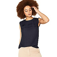 Oasis - Navy scallop linen look shell top