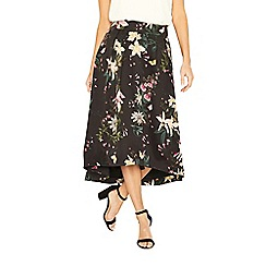 Oasis - Multi black secret garden full midi skirt