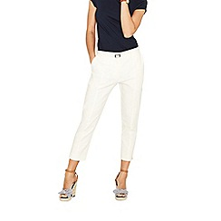 Oasis - White compact cotton twill capris
