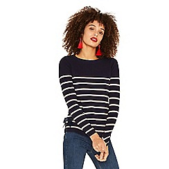 Oasis - Navy and white breton stripe bow hem knit top