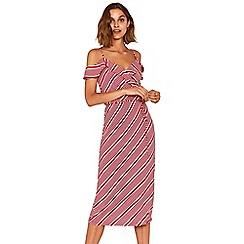 Oasis - Multi red stripe ruffle wrap midi dress