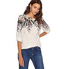 Oasis - Off white secret garden 3/4 sleeves top