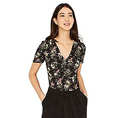 Oasis - Multi black secret garden button front tea top