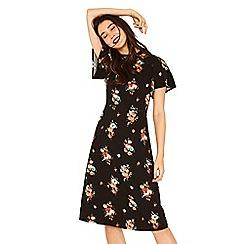 Oasis - Multi black bouquet angel sleeve midi dress