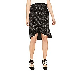 Oasis - Black and white polka frill wrap skirt
