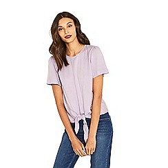 Oasis - Lilac tie front t-shirt