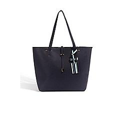 Oasis - Navy 'Napoli' stripe 'Sunny' shopper bag
