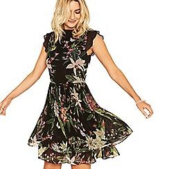 Oasis - Multi black secret garden pleated skater dress