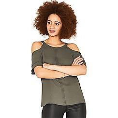 Oasis - Khaki halter frill cold shoulder top