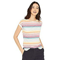 Oasis - Multicoloured rainbow stripe t-shirt