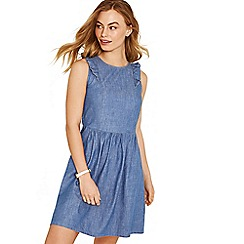 Oasis - Denim frill front chambray dress
