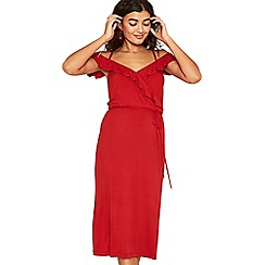 Oasis - Mid red ruffle wrap midi dress