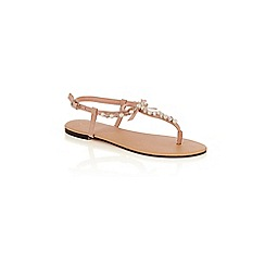 Oasis - Pale pink pearl bow toe posts sandals