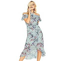 Oasis - Multi grey jasmine floral midi dress
