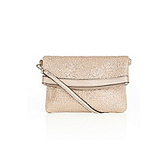 Oasis - Silver 'Sunshine' straw clutch