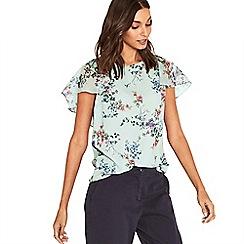 Oasis - Multi grey jasmine floral cape sleeve top