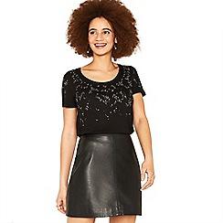 Oasis - Black sparkle embellished t-shirt