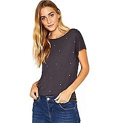 Oasis - Dark grey scatter embellished t-shirt
