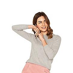 Oasis - Mid grey placed embellished knit jumper