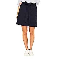 Oasis - Navy cotton poplin paper bag skirt