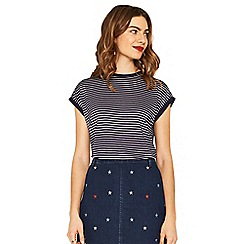 Oasis - Navy and white stripe relaxed t-shirt