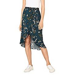 Oasis - Multi blue 'fitzwilliam' frill midi skirt