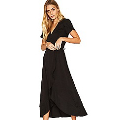 Oasis - Black wrap midi dress