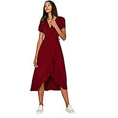 Oasis - Burgundy wrap midi dress