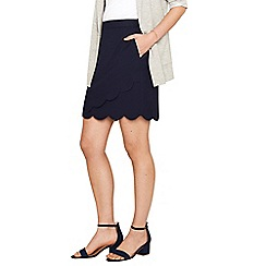 Oasis - Navy scallop wrap skirt