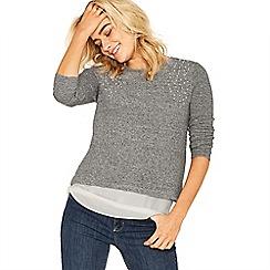 Oasis - Grey pearl shoulder cosy top