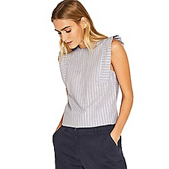 Oasis - Multi blue ticking stripe angel sleeves top