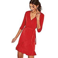 Oasis - Multi red spot ruffle hem wrap dress