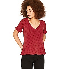 Oasis - Red spot ruffle tea top