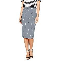 Oasis - Navy boat stripe pencil skirt