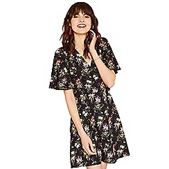 Oasis - Multi black mini 'Kelsey' angel sleeve dress