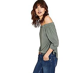Oasis - Khaki tie sleeve bardot top